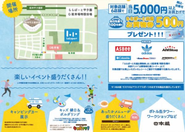 ららぽーと甲子園キャンピングカー&アウトドアスポーツフェアアクセス等